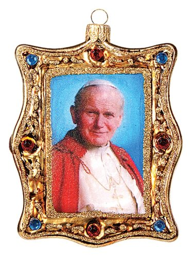 Pope John Paul II Portrait Polish Glass Christmas Ornament Catholic Ornament
