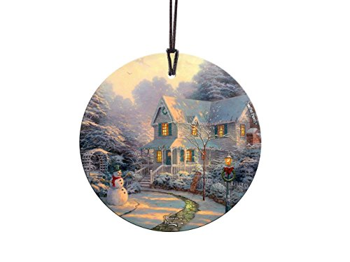 Thomas Kinkade Art Night Before Christmas StarFire Prints Glass Ornament – Home and Christmas Tree Decoration