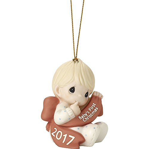 Precious Moments Holiday Christmas Bisque Porcelain Hanging Ornament with S-Hook (Baby Boy's First Christmas (2017) 171006)
