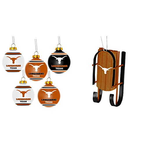 NCAA Texas Longhorns Plastic Christmas Ball Ornament 5 Pack Sled Bundle 2 Pack By Forever Collectibles