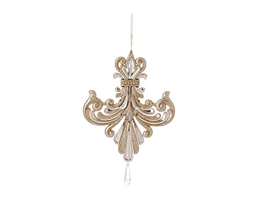 6.5″ Gold Iridescent Glitter Inverted Fleur-de-Lis Christmas Ornament with Pendant