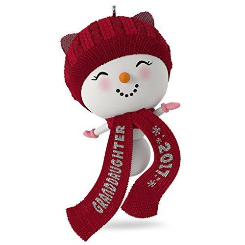 Hallmark Keepsake 2017 Cute Snowman Granddaughter Dated Christmas Ornament