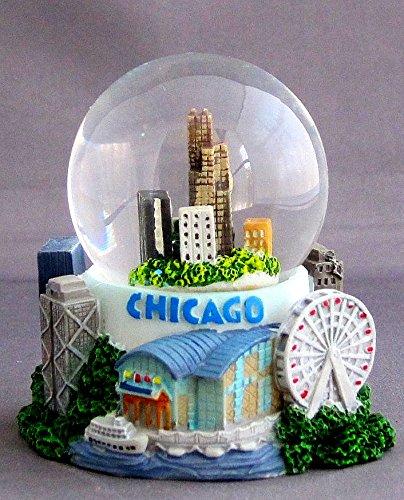 Chicago City Skyline 3×3″ Snow Water Globe. 45mm
