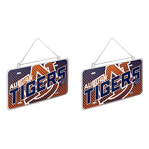 NCAA Auburn Tigers Metal License Plate Christmas Ornament Bundle 2 Pack By Forever Collectibles