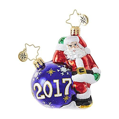 Christopher Radko 2017 Having A Ball Santa Little Gem Glass Ornament – 3″H.