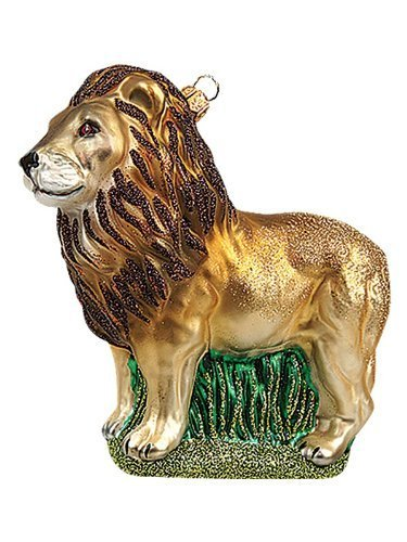 Lion Wildlife Polish Mouth Blown Glass Christmas Ornament by Pinnacle Peak Trading Company
