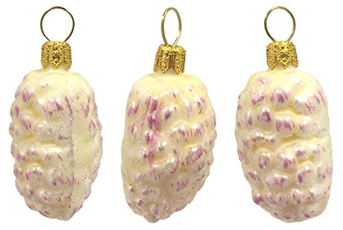 White Mulberries Polish Glass Christmas Ornaments Set of 3 Mulberry Fruit Poland