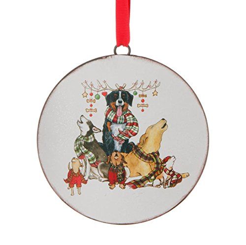 RAZ Howling Dogs Disc Christmas Ornament