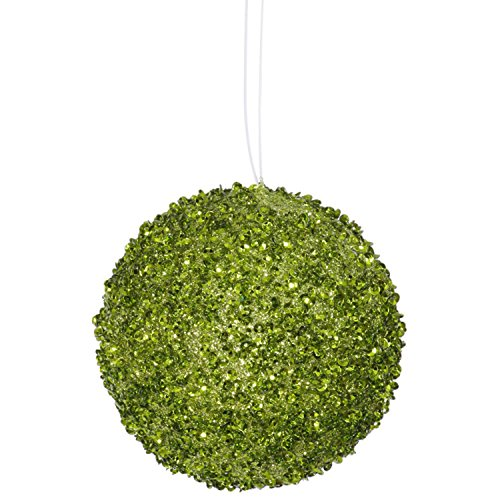 3ct Lime Green Sequin and Glitter Drenched Christmas Ball Ornaments 4.75″ (120mm)