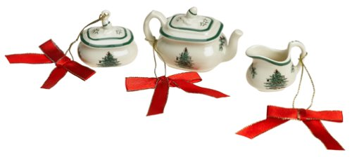Spode World of Christmas Ornaments, Christmas Tea Time Minis, Set of 3