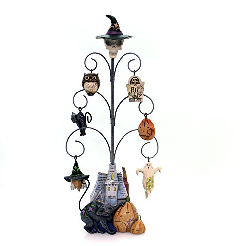 Jim Shore Heartwood Creek Spooky Halloween Tree with 6 Mini Ornaments