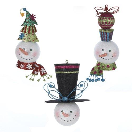 Kurt Adler 4-Inch Tin Snowman's Head Christmas Ornaments 3 Assorted