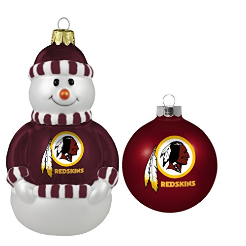 NFL Washington Redskins Snowman and Ball Mini Blown Glass Ornaments
