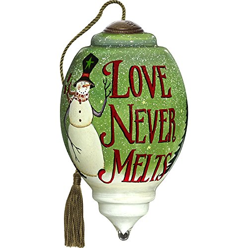 Precious Moments, Ne'Qwa Art 7171116 Hand Painted Blown Glass Petite Trillion Shaped Love Never Melts Snowman Ornament, 3-inches