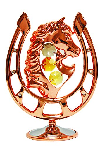 Rose Gold Plated Horseshoe w/Horse Head Free Standing with Swarovski Element Crystal