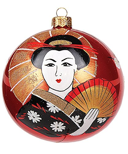 Japanese Woman Holding Umbrella Ball Polish Mouth Blown Glass Christmas Ornament