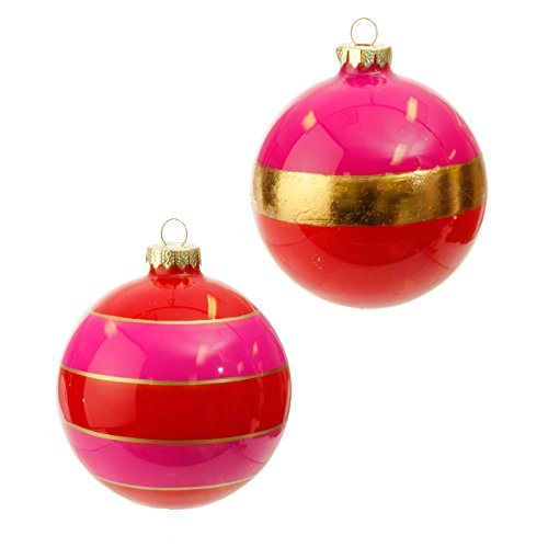 RAZ Imports – 4″ Striped Ball Christmas Tree Ornaments – Set of 2 (Pink/Red/Gold)