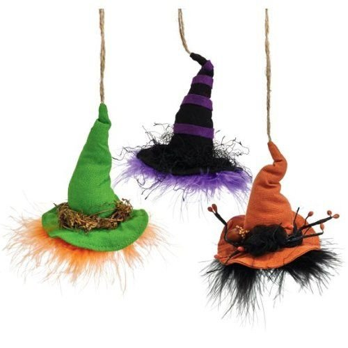 Department 56 Witch Hallow Halloween Witch Hat Ornament, 3 Assorted Ornaments 4.5 In
