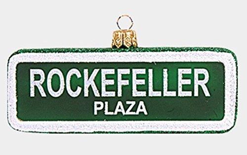 Rockefeller Plaza New York Street Sign Polish Glass Christmas Tree Ornament NYC