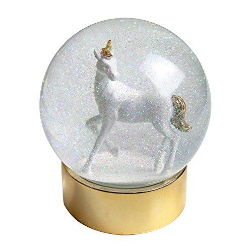 Christmas Snow Globe Unicorn Snowglobe on Glittet Base