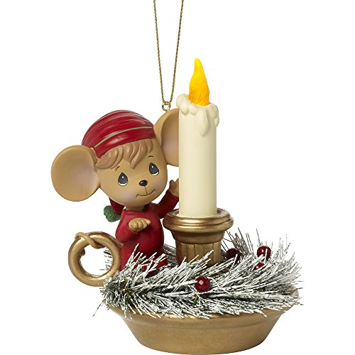 Precious Moments Making Spirits Bright Lighted Mouse with LED Lighted Candle Resin Ornament 171411