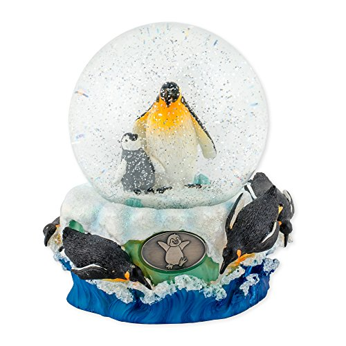 Playful Penguins 100mm Resin Glitter Water Globe Plays Tune Entertainer
