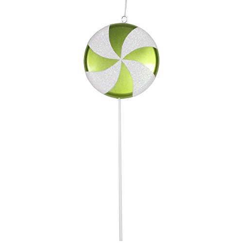 Vickerman Plastic Candy Lollipop with Iridescent Glitter, 17″, Lime Green and White