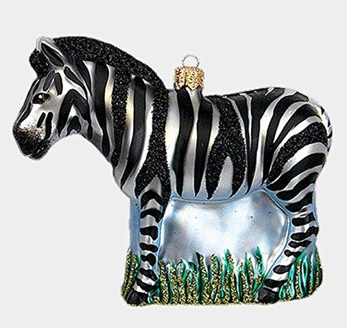 Zebra Polish Mouth Blown Glass Christmas Ornament African Wildlife Decoration