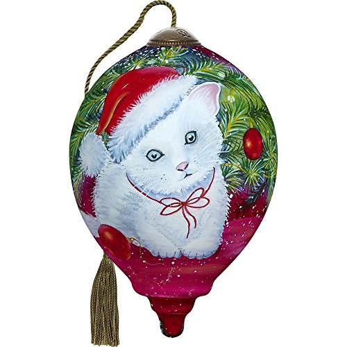 Precious Moments, Ne'Qwa Art 7171128 Hand Painted Blown Glass Petite Princess Shaped Christmas Kitten Ornament, 3-inches