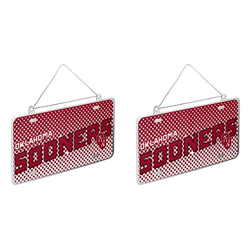 NCAA Oklahoma Sooners Metal License Plate Christmas Ornament Bundle 2 Pack By Forever Collectibles