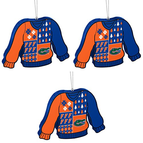 NCAA Florida Gators Foam Ugly Sweater Christmas Ornament Bundle 3 Pack By Forever Collectibles