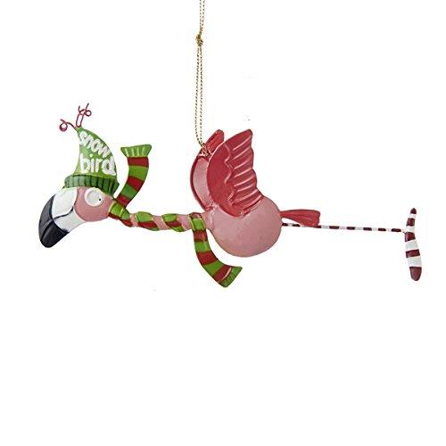 "Kurt Adler Tin Flamingo ""snow Bird"" Christmas Ornament"