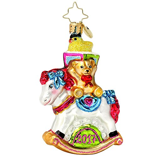 Christopher Radko 2017 Rocking New Year Little Gem Rocking Horse Baby Christmas Ornament