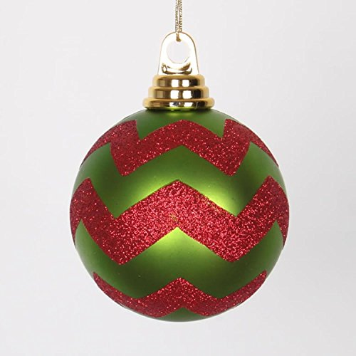 Lime Green Matte and Red Glitter Chevron Shatterproof Christmas Ball Ornaments 4″ (100mm)