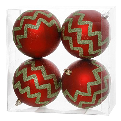 Pack of 4 Matte Red and Lime Green Glitter Chevron Striped Christmas Ball Ornaments 4″ (100mm)