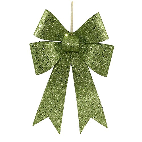 Vickerman 12″ Lime Green Sequin and Glitter Bow Christmas Ornament
