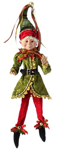 RAZ Imports – Botanical Garden Theme – 16 Red, Gold and Green Decorative Elf – Green Hat