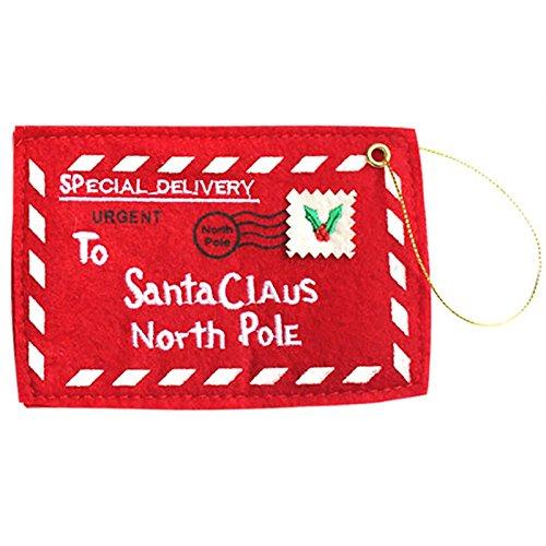 Zehui Letter Bag for Holiday Christmas Ornament Decor – Santa Red Envelope Candy Gift Bag Embroidery
