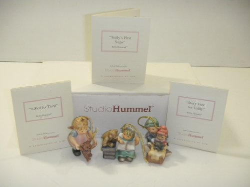 Studio Hummel Set 22 # 96060 Christmas Ornament Collection … Story Time For Teddy , Teddy's FIrst Steps , A SLed For Three