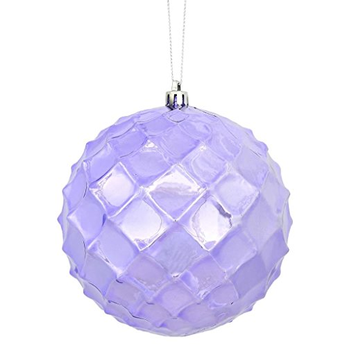 Vickerman 474921 – 4″ Lavender Shiny Diamond Bauble Christmas Tree Ornament (6 pack) (N174186D)