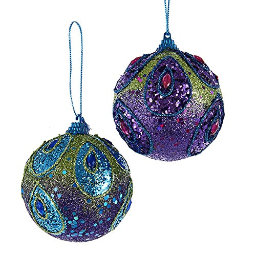 Kurt Adler PEACOCK SEQUINED BALL WITH GLITTER ORNAMENT – 2 ASSORTED: PURPLE AND BLUE