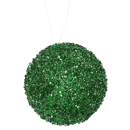 Vickerman 6ct Emerald Green Sequin and Glitter Drenched Christmas Ball Ornaments 3″ (80mm)