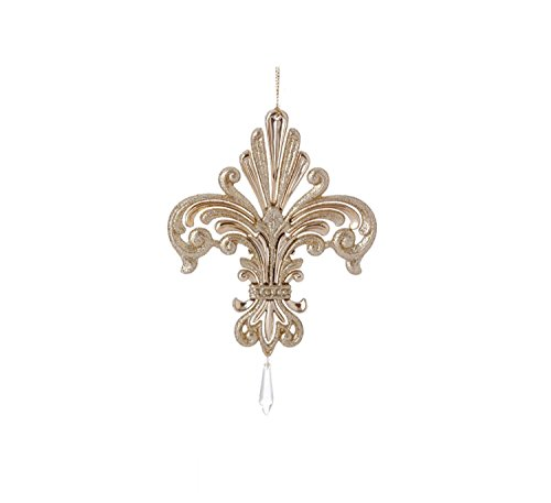 6.5″ Exquisite Gold Iridescent Glittered Fleur-de-Lis Christmas Ornament with Pendant