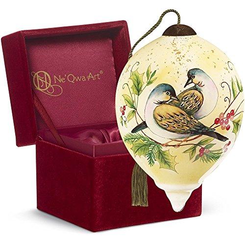 "Ne'Qwa Art, Twelve Days of Christmas, Christmas Gifts, ""Two Turtle Doves"" Artist Susan Winget, Petite Princess-Shaped Glass Ornament, #7161141"