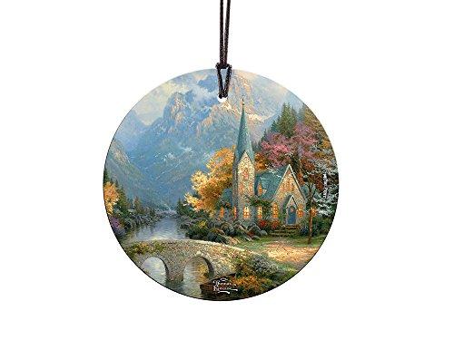 Thomas Kinkade The Mountain Chapel StarFire Prints Glass Ornament – Home and Christmas Tree Decoration