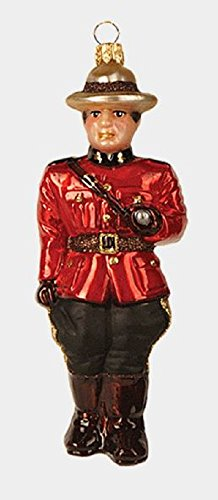 Royal Canadian Mounted Policeman Polish Glass Christmas Ornament Mountie Canada