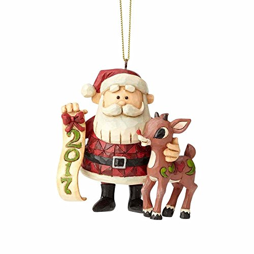 Enesco Rudolph Traditions by Jim Shore Dated 2017 Rudolph/Santa 3.25 in Hanging Ornament