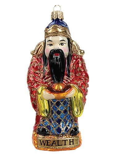 Chinese God of Wealth Polish Mouth Blown Glass Christmas Ornament Decoration