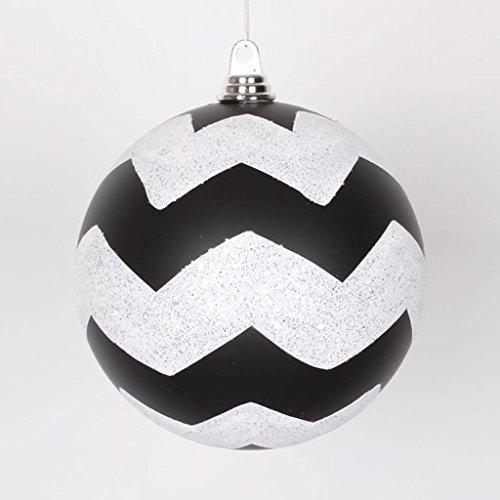 Vickerman Chevron Matte Finish Glitter Accented Shatterproof Christmas Ball Ornament, 8″, Black/White