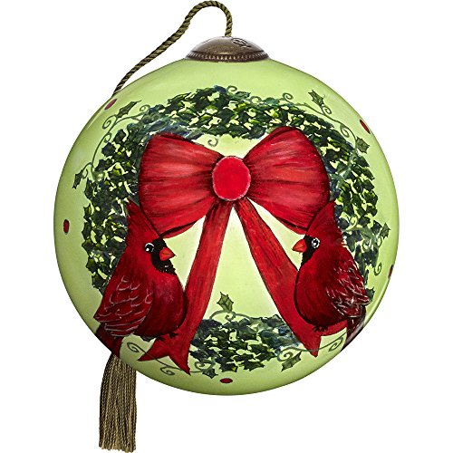 Precious Moments, Ne'Qwa Art 7171106 Hand Painted Blown Glass Petite Round Shaped Merry Christmas Ornament, 2.5-inches